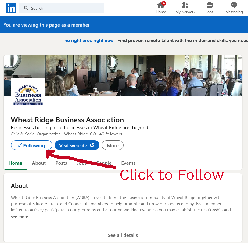 Click to visit and follow the WRBA LinkedIn page